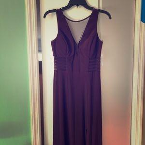 Macy's Plum Long Evening Dress with Mesh